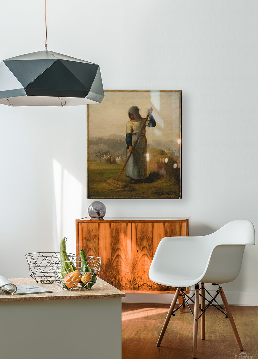 Woman with a Rake  HD Metal print with Floating Frame on Back