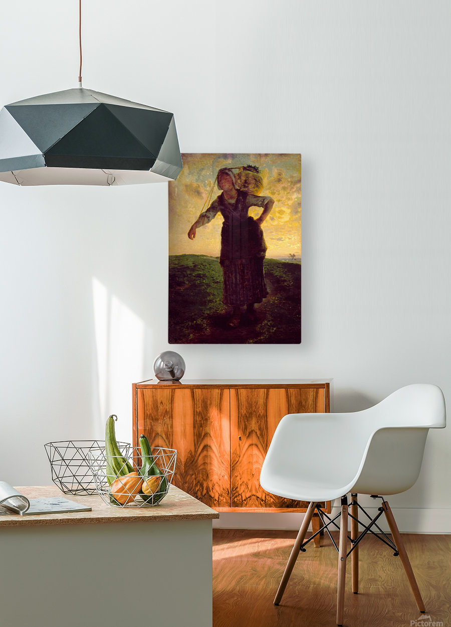 A Norman Milkmaid at Greville  HD Metal print with Floating Frame on Back