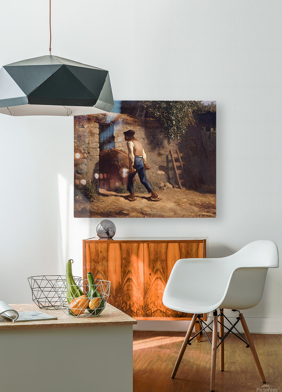 Peasant with a Wheelbarrow  HD Metal print with Floating Frame on Back