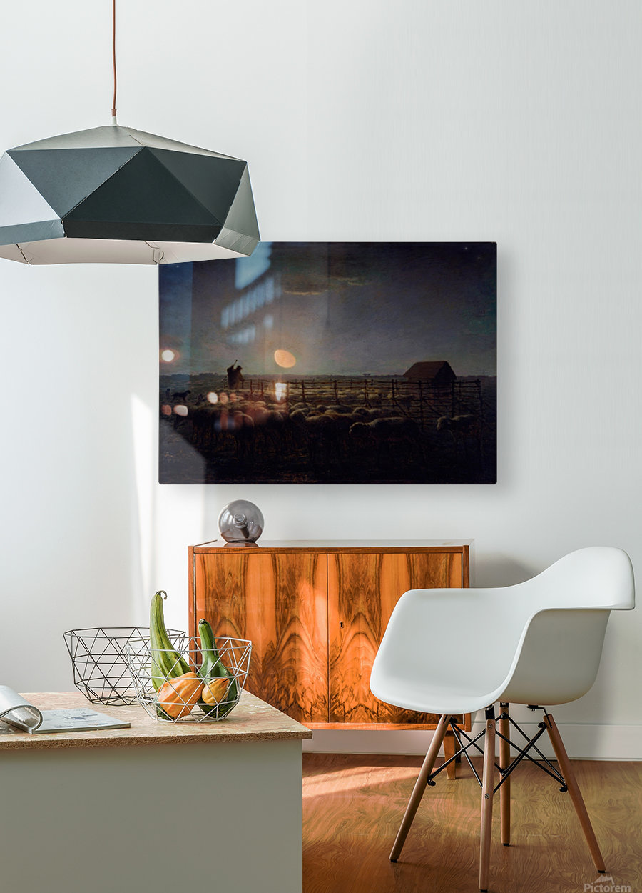 The Sheepfold, Moonlight  HD Metal print with Floating Frame on Back