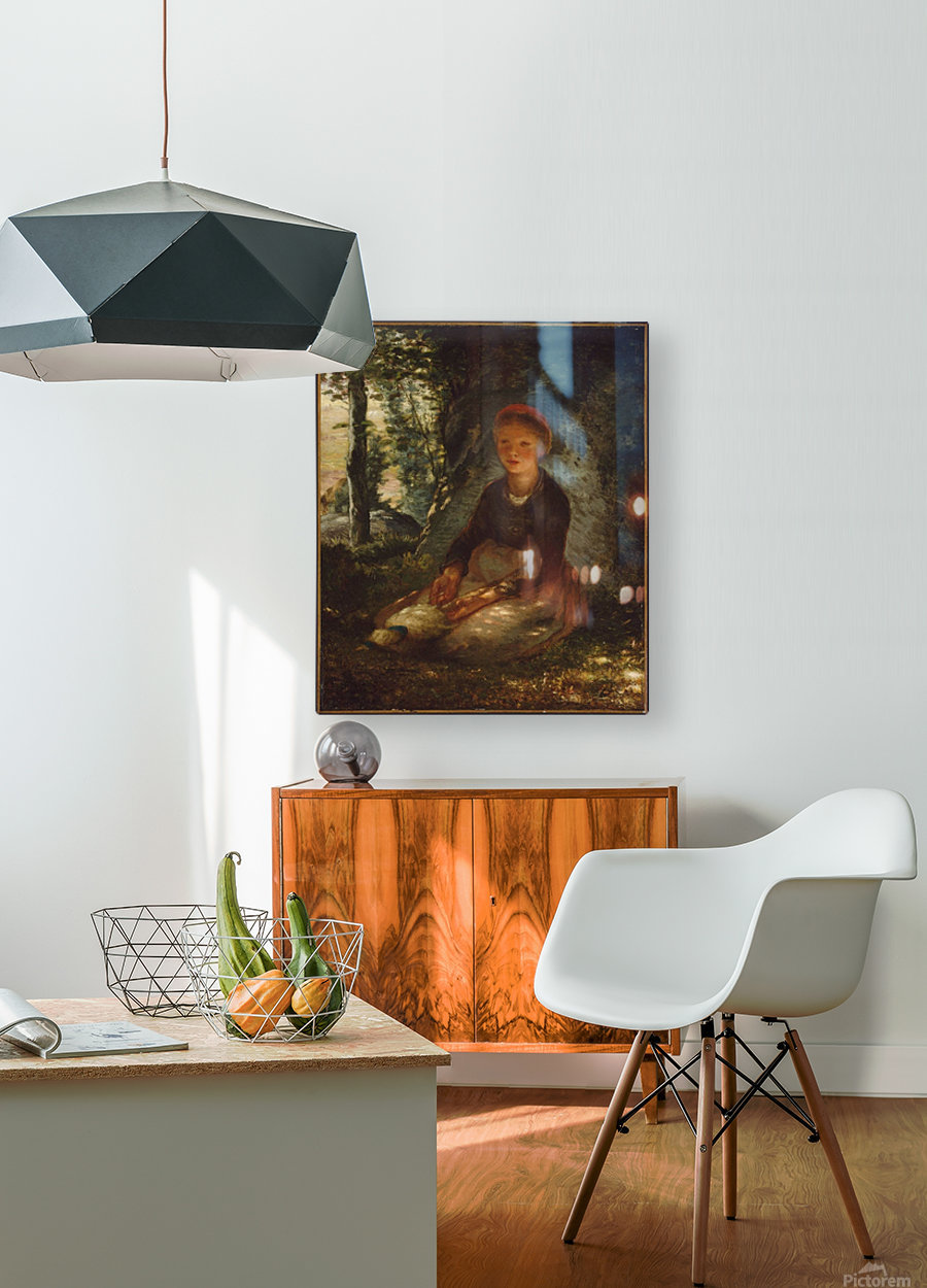Shepherdess seated in the shade  HD Metal print with Floating Frame on Back