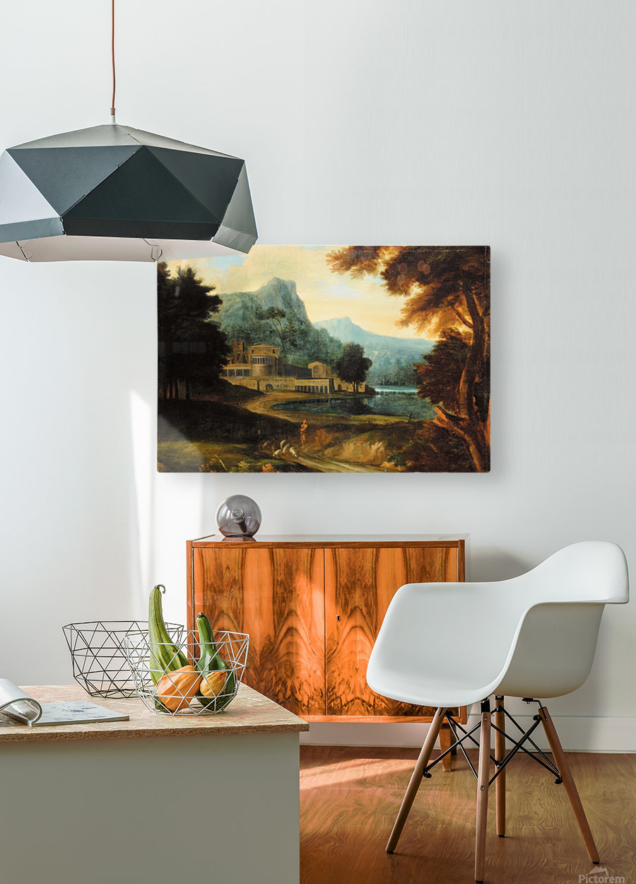Castle wilh lake near mountains  HD Metal print with Floating Frame on Back