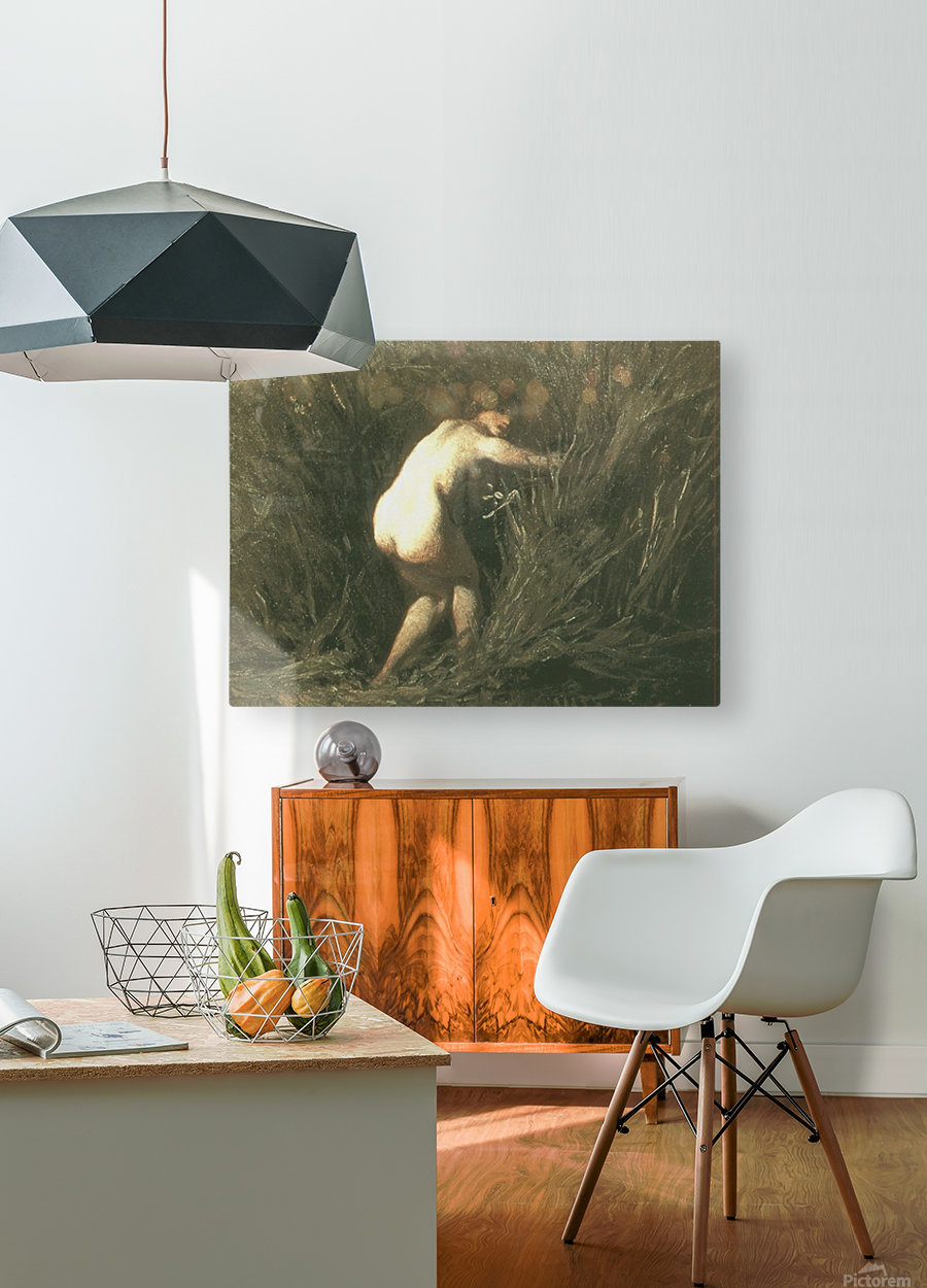 Nymphe dans les roseaux  HD Metal print with Floating Frame on Back