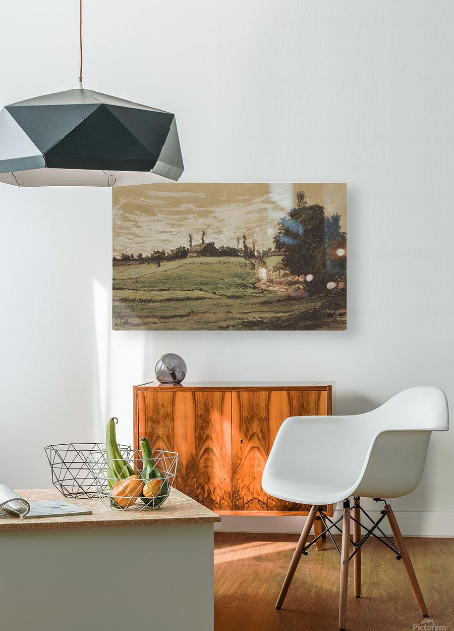 Ferme sur les hauteurs de Vichy  HD Metal print with Floating Frame on Back