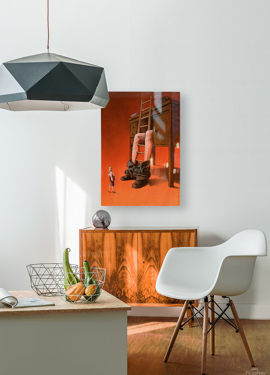 office  HD Metal print with Floating Frame on Back