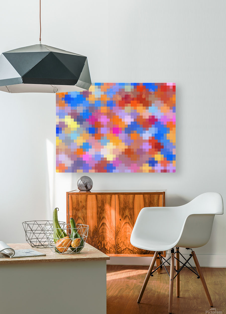 geometric square pixel pattern abstract in pink blue orange  HD Metal print with Floating Frame on Back