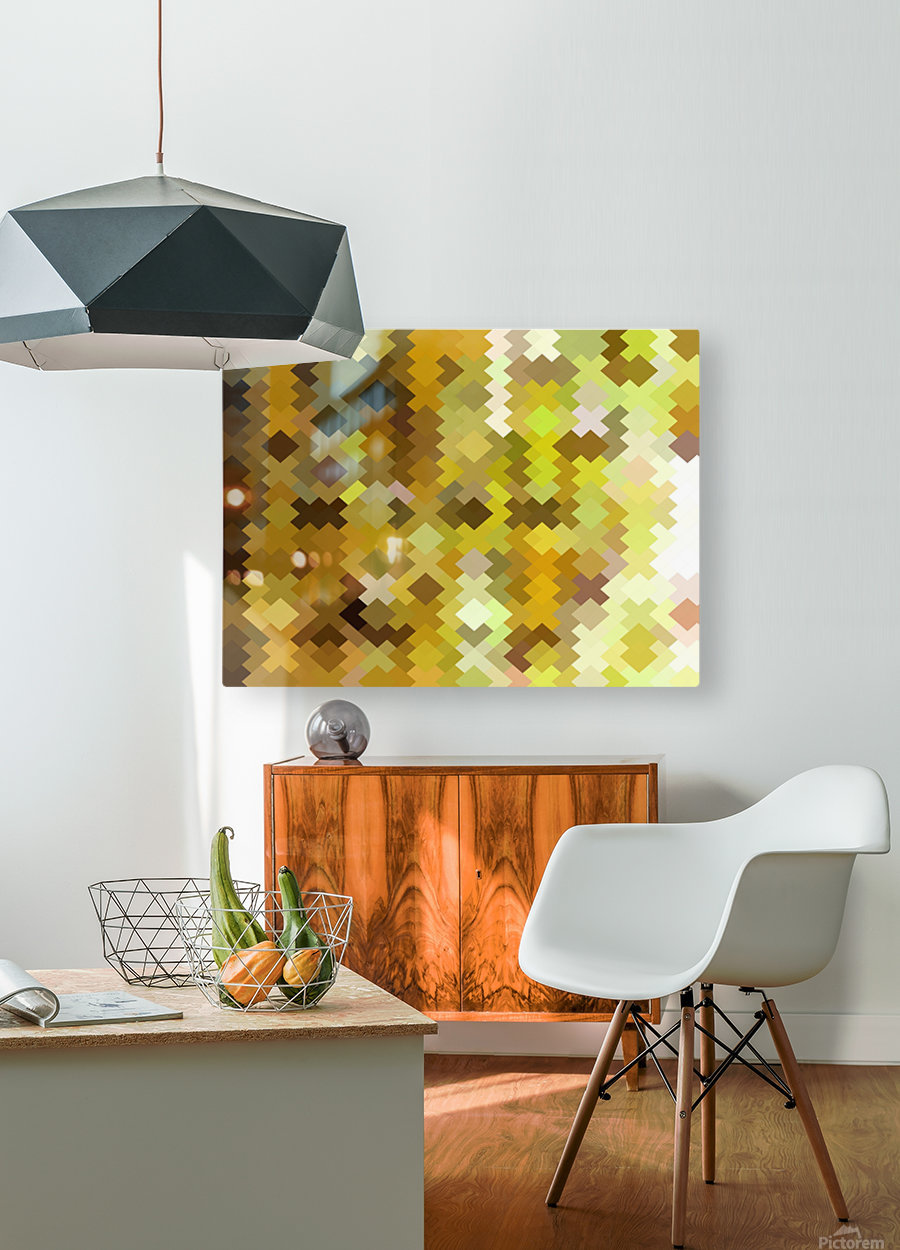 geometric square pixel pattern abstract in yellow and brown  HD Metal print with Floating Frame on Back