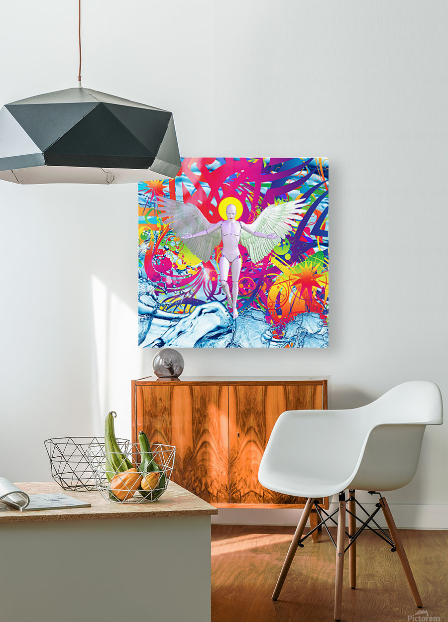 Angelic Robot  HD Metal print with Floating Frame on Back