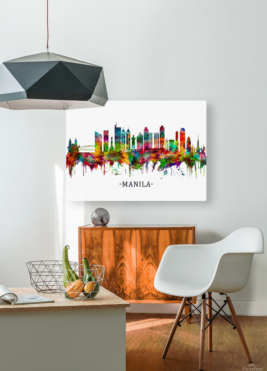 Manila Philippines Skyline  HD Metal print with Floating Frame on Back