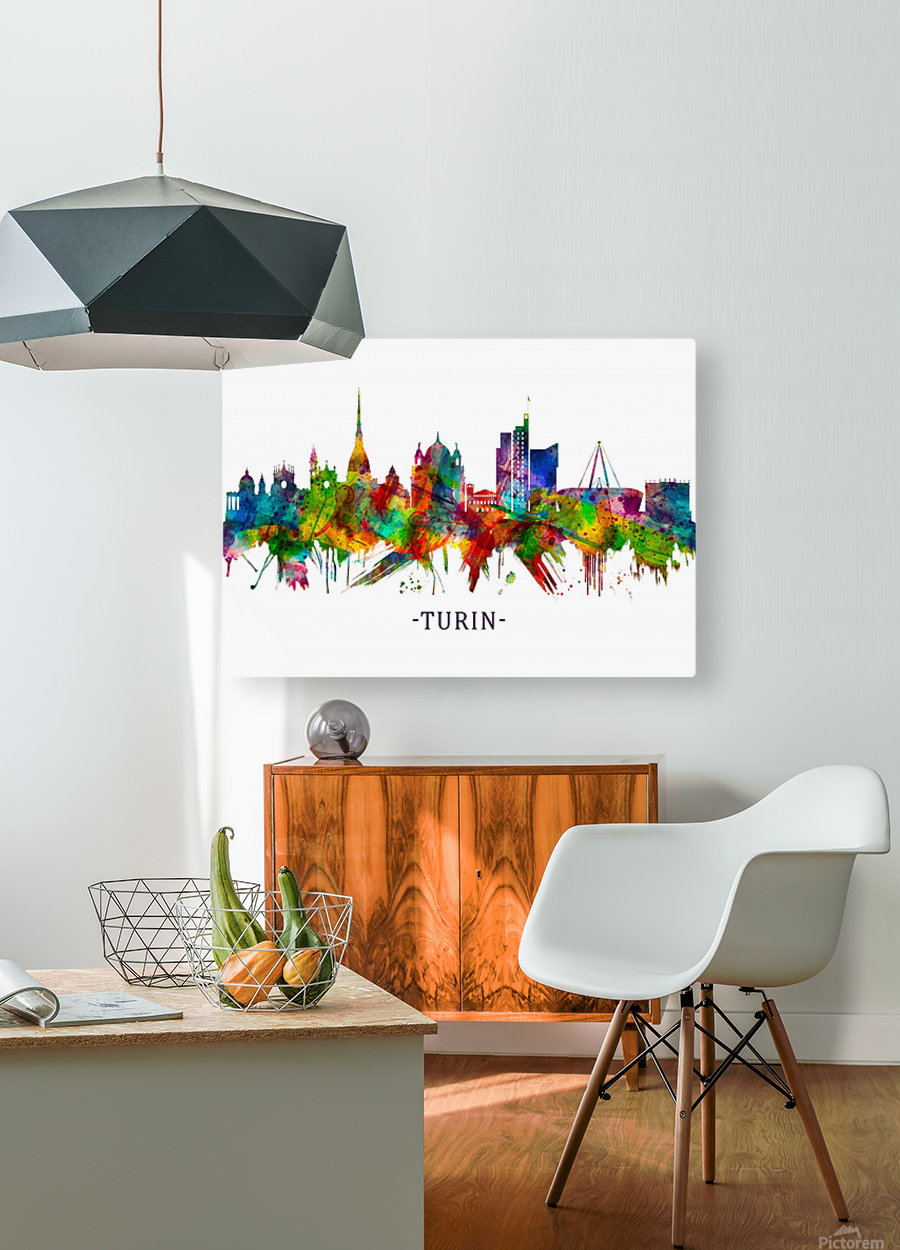 Turin Italy Skyline  HD Metal print with Floating Frame on Back