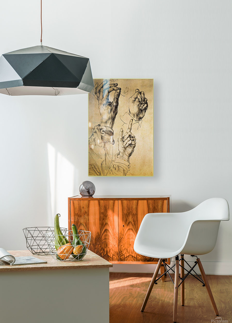 Study of Three Hands  HD Metal print with Floating Frame on Back