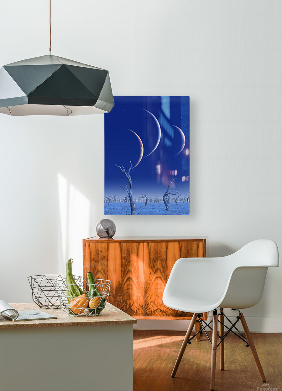 Three Planets Rise  HD Metal print with Floating Frame on Back