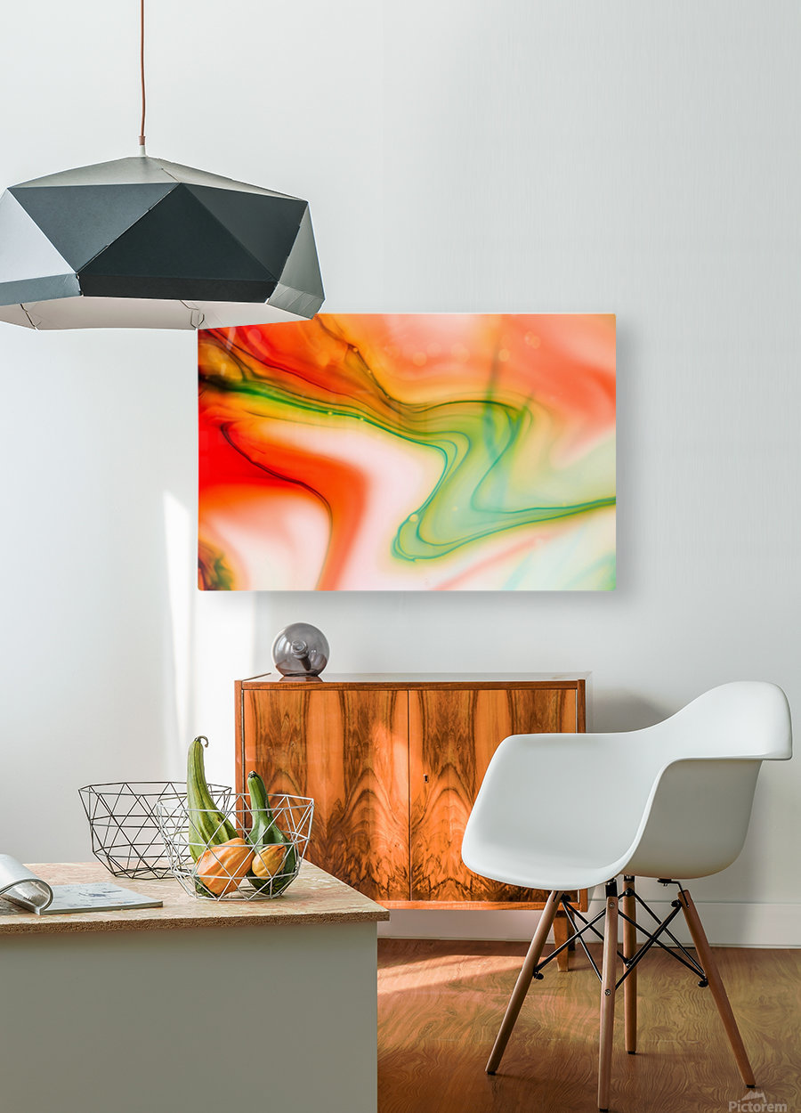 The colorful background of freeform floating watercolor  HD Metal print with Floating Frame on Back