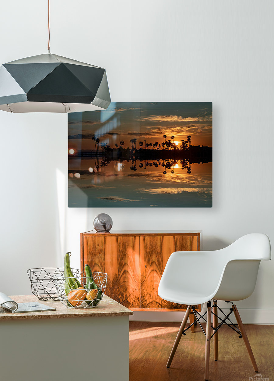 Sunset over Corona Del MAr California  HD Metal print with Floating Frame on Back