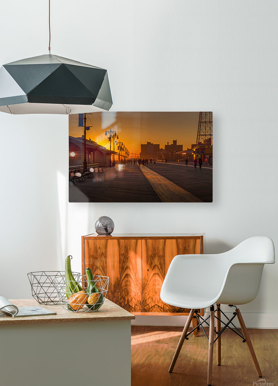 Sunset over the boardwalk  HD Metal print with Floating Frame on Back