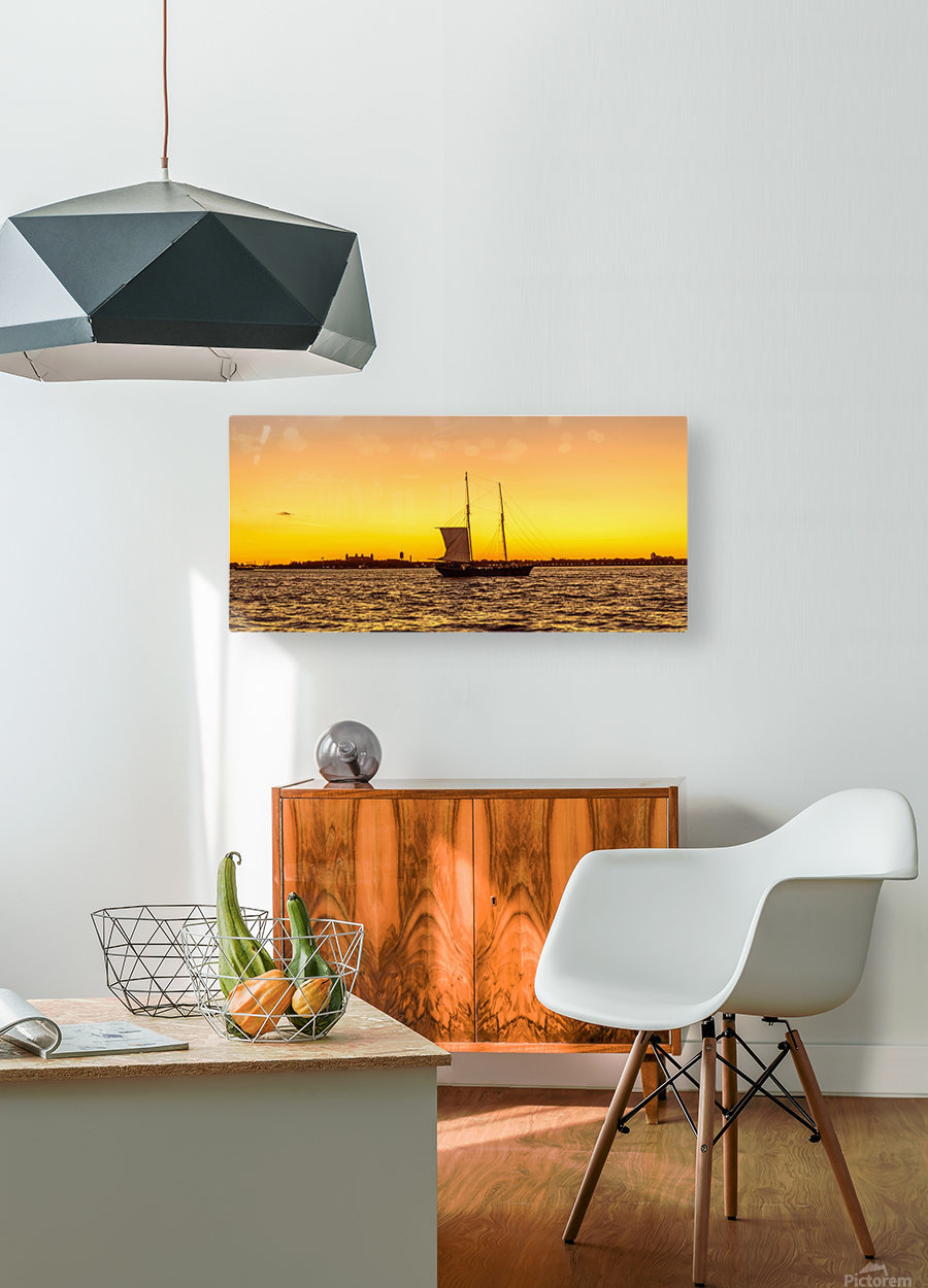 Sunset over the NY harbor  HD Metal print with Floating Frame on Back