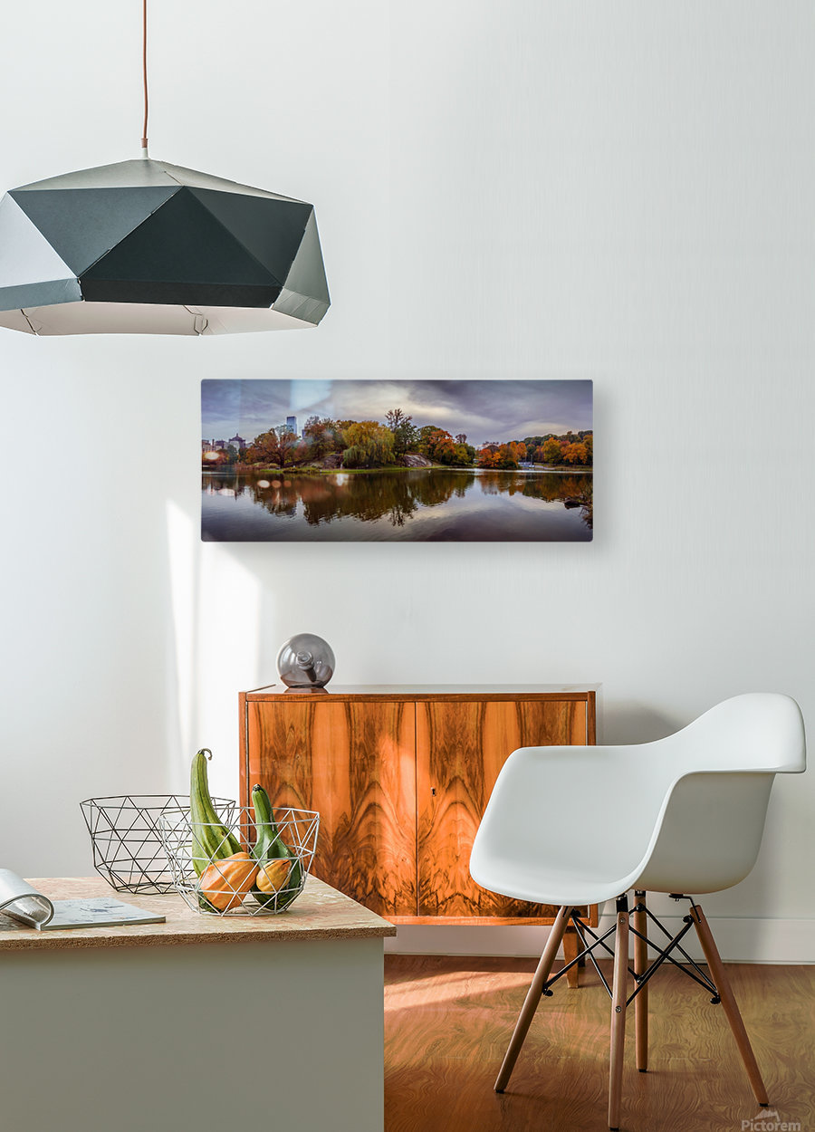 Central park lake panorama  HD Metal print with Floating Frame on Back