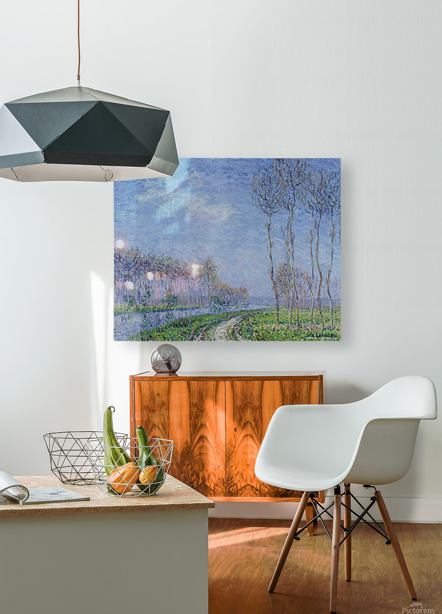 Trees on the Bank of the River  HD Metal print with Floating Frame on Back
