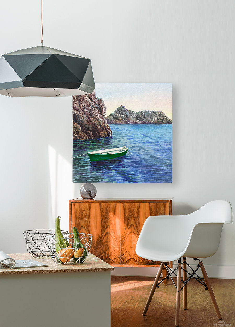 Green Boat Blue Sea Grotto Emeraldo Harbor   HD Metal print with Floating Frame on Back