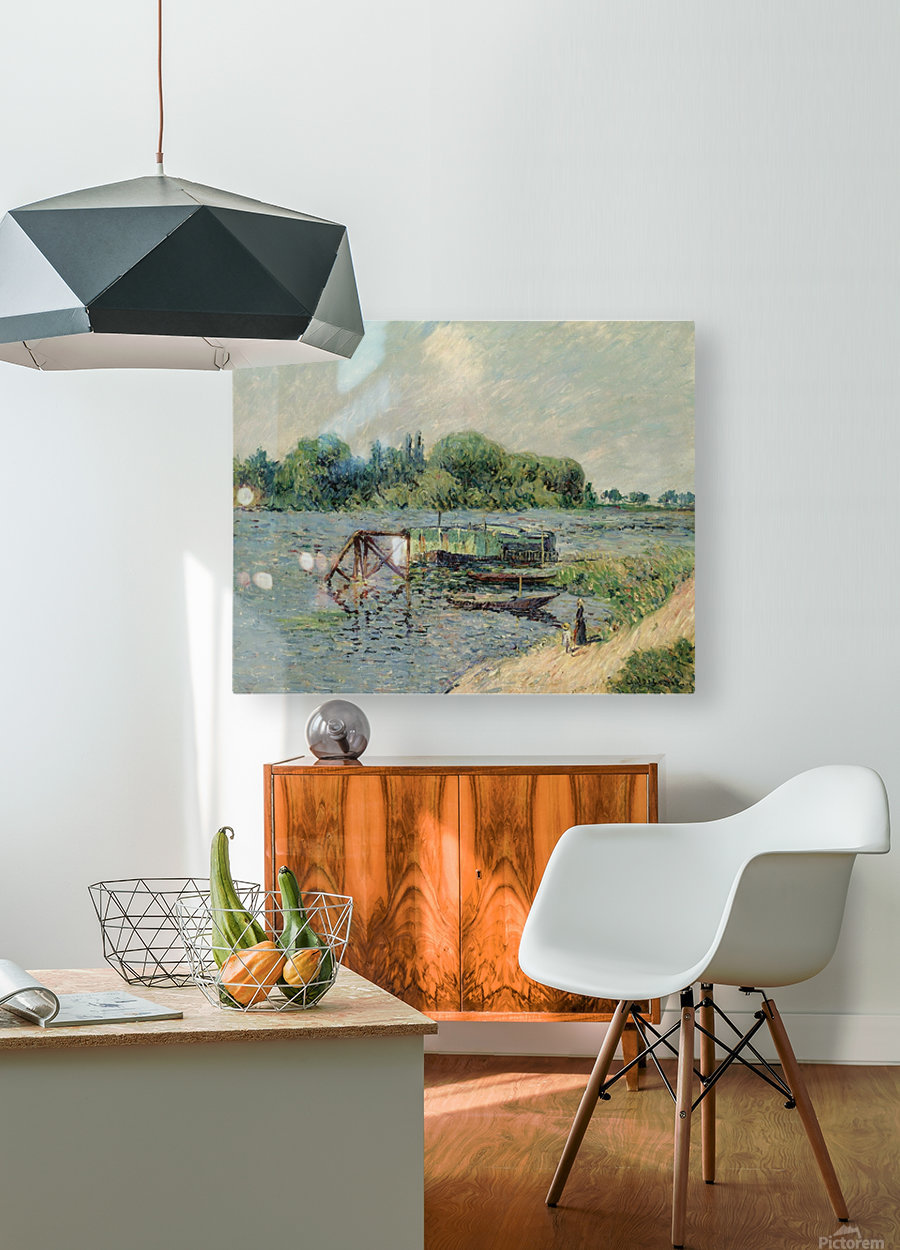 Laun Place on the Seine at Herblay  HD Metal print with Floating Frame on Back