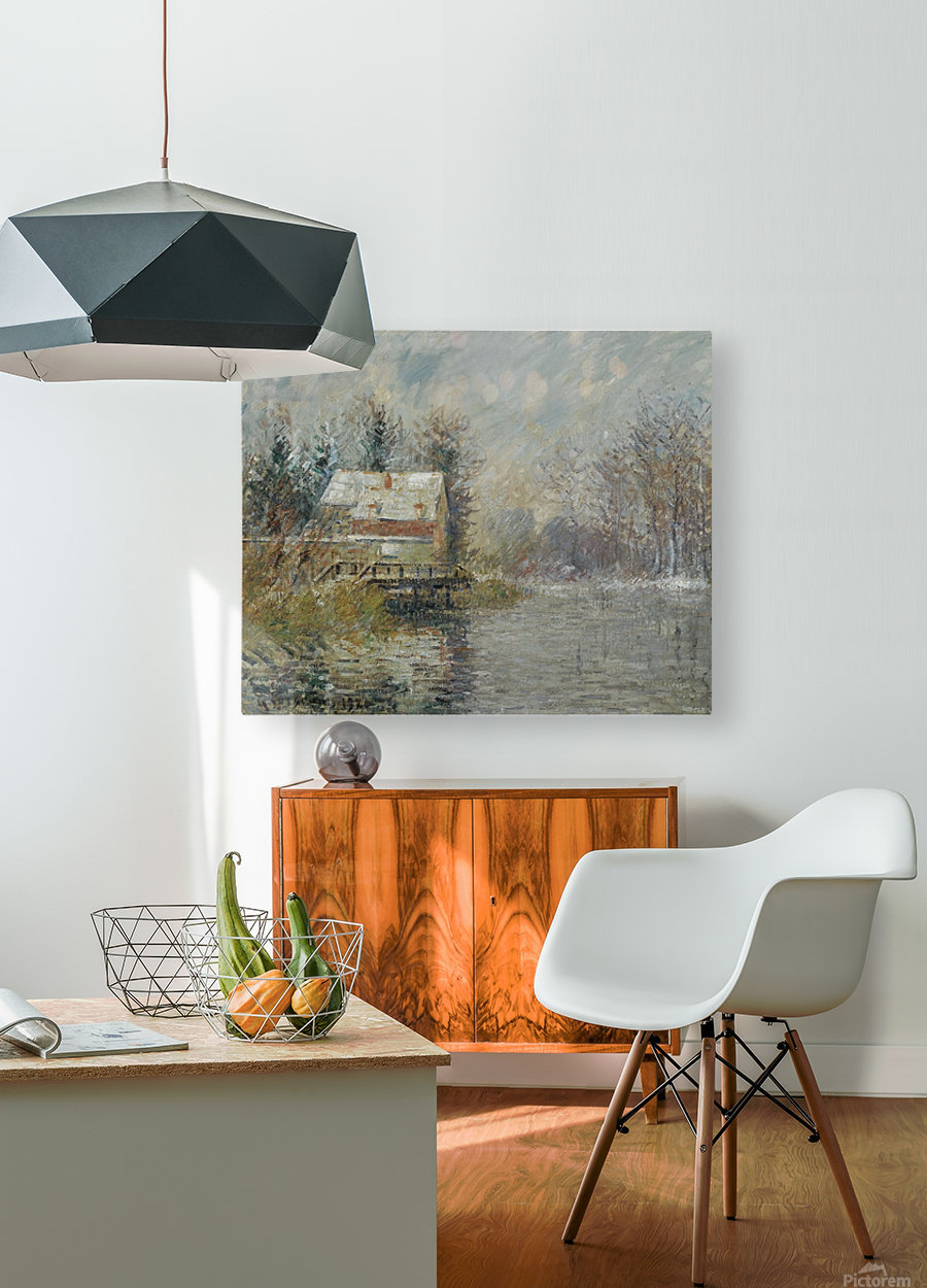 The House by the Water, Snow Effect  HD Metal print with Floating Frame on Back