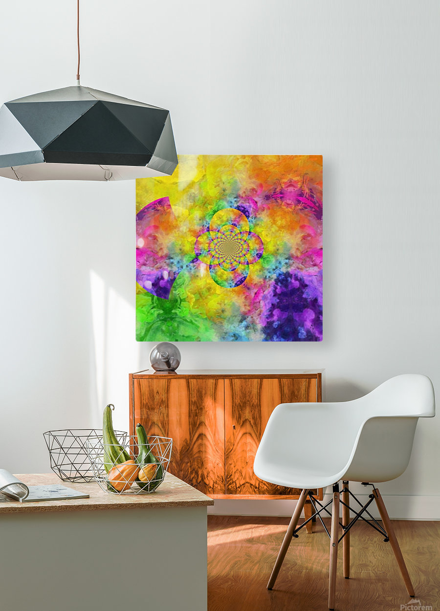 Colorful Fractal  HD Metal print with Floating Frame on Back