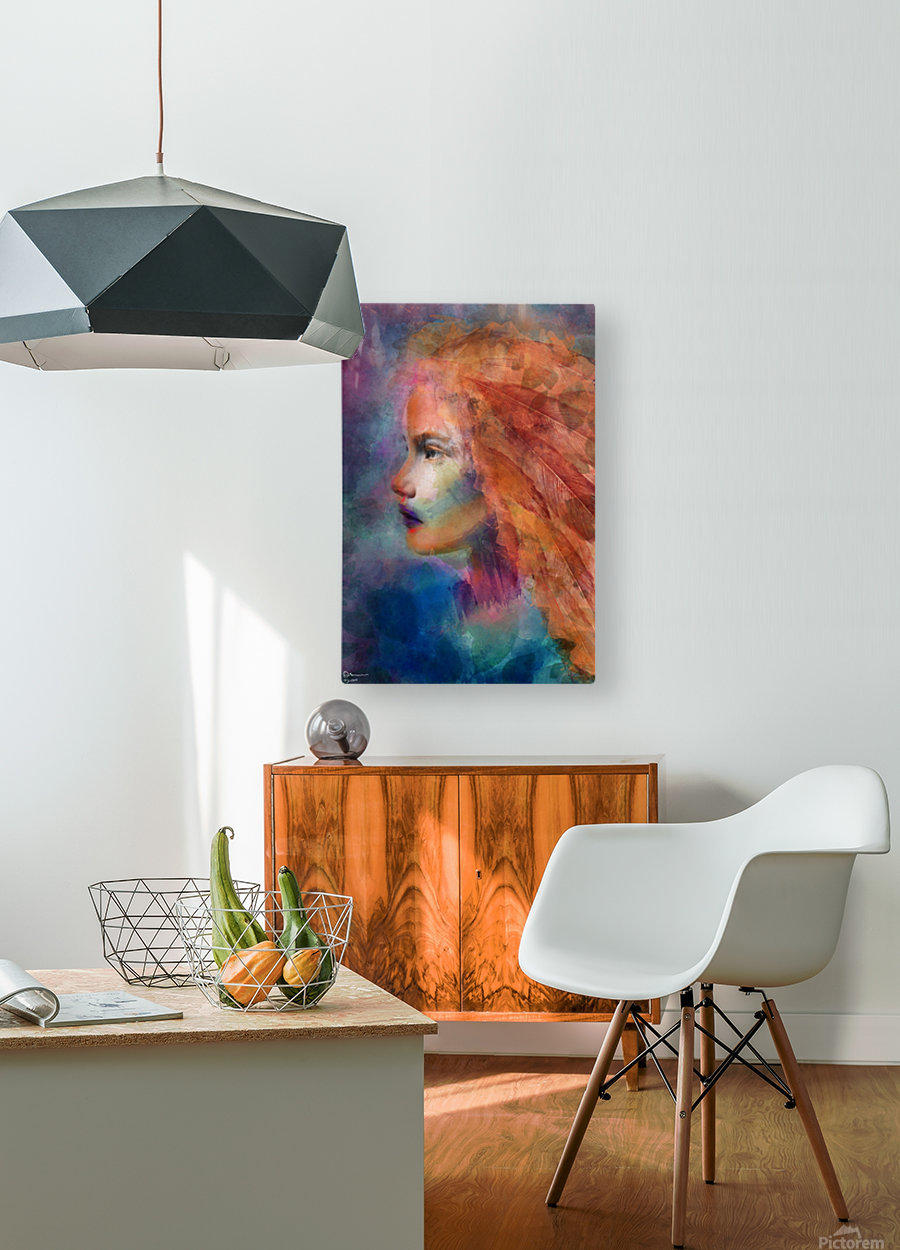 The autumn girl  HD Metal print with Floating Frame on Back