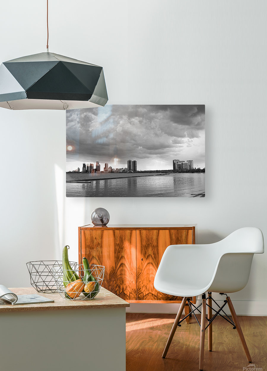 City at Ontario Lake B&W  HD Metal print with Floating Frame on Back