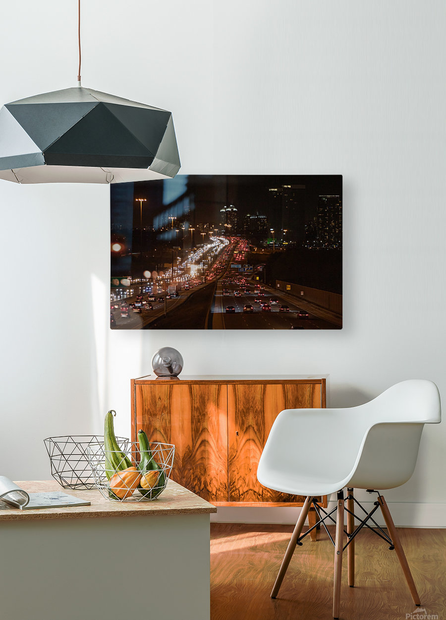 Busy road at night  HD Metal print with Floating Frame on Back