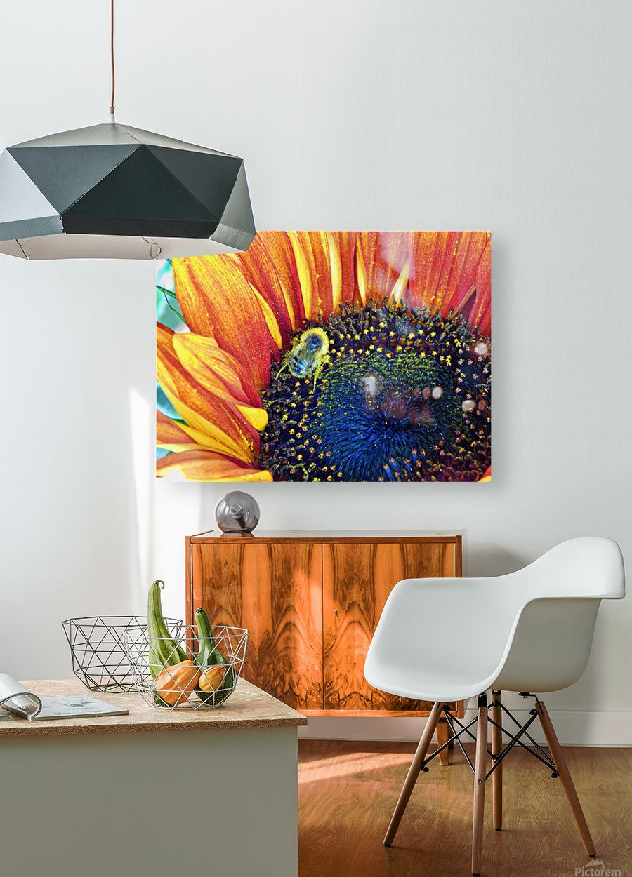 bee happy  HD Metal print with Floating Frame on Back
