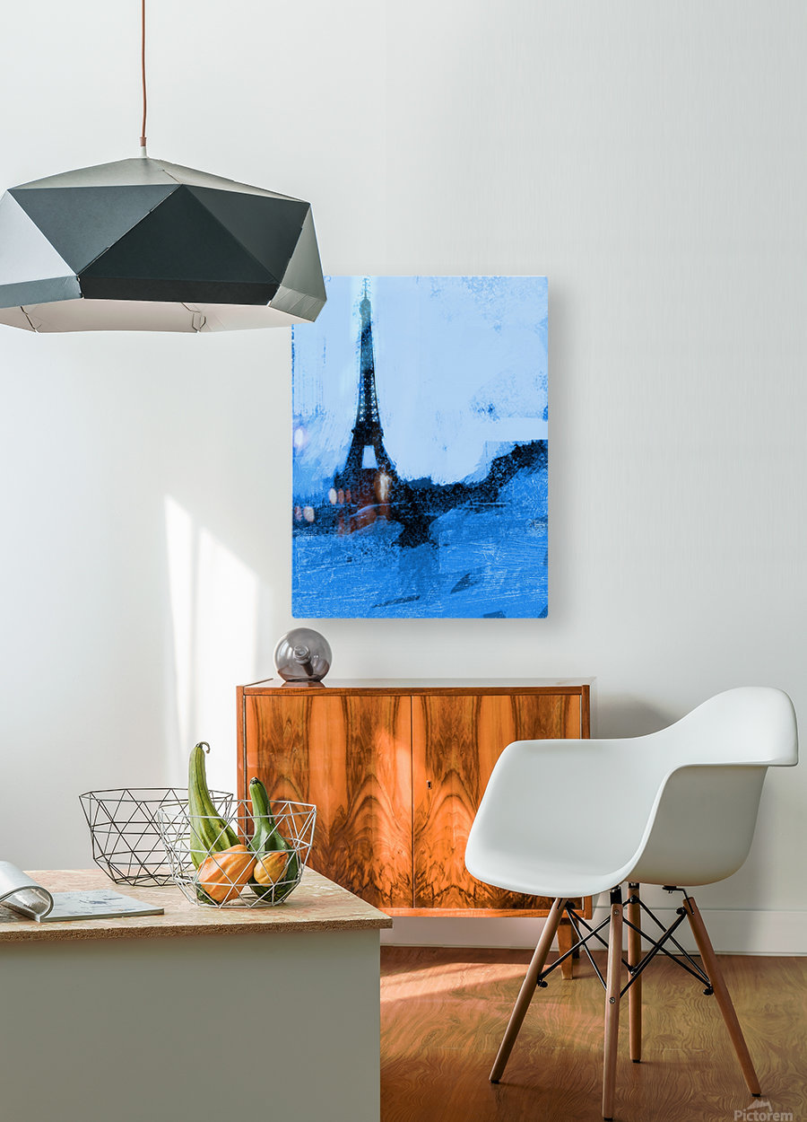 Paris Icon in Cyan  HD Metal print with Floating Frame on Back
