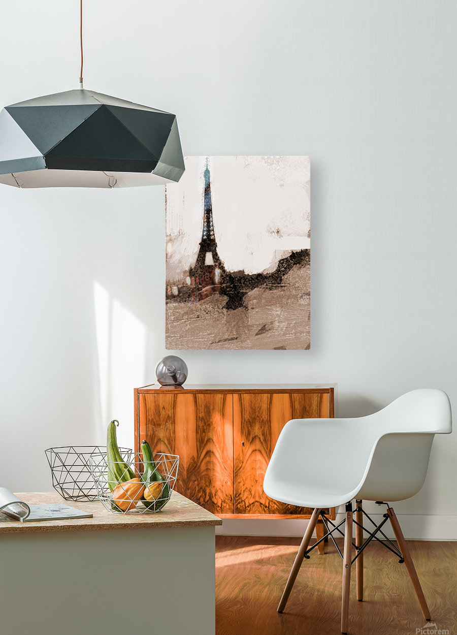 Paris Icon in Sephia  HD Metal print with Floating Frame on Back