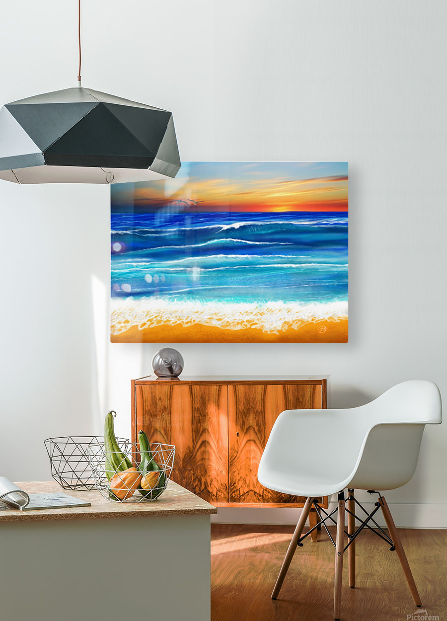 Sunset at 7pm  HD Metal print with Floating Frame on Back