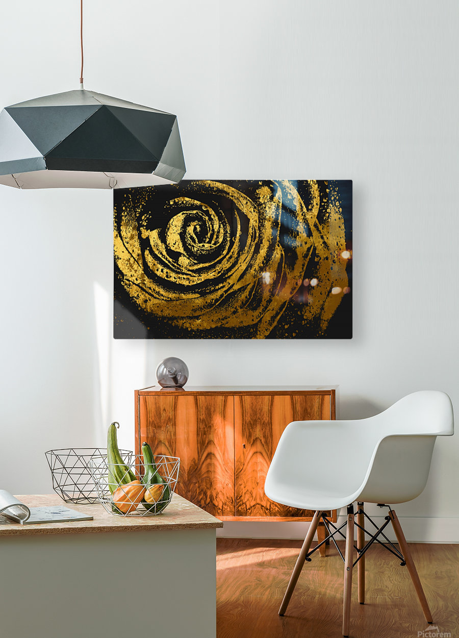 Golden rose  HD Metal print with Floating Frame on Back
