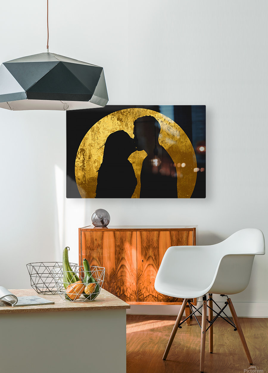 kiss and the moon  HD Metal print with Floating Frame on Back