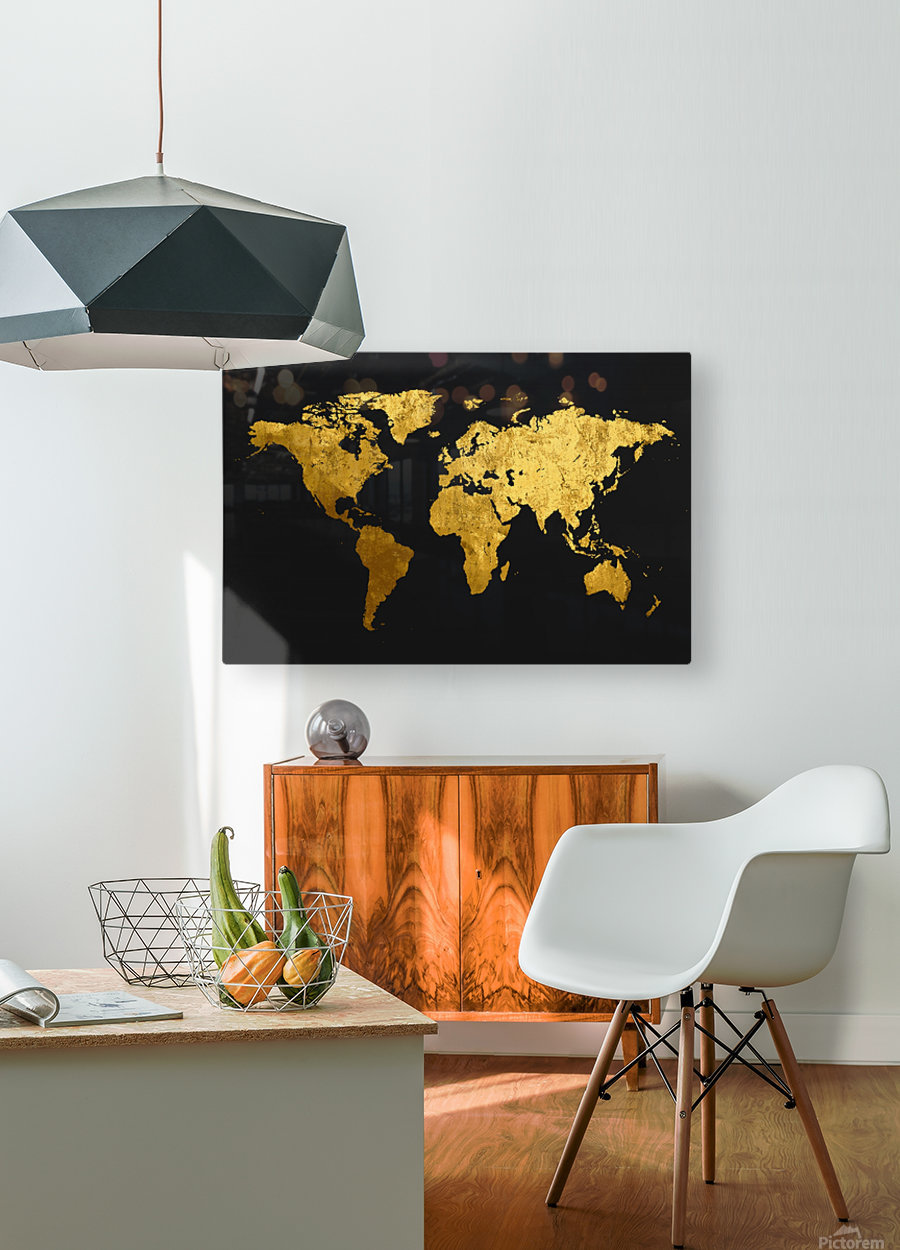 Golden World Map  HD Metal print with Floating Frame on Back