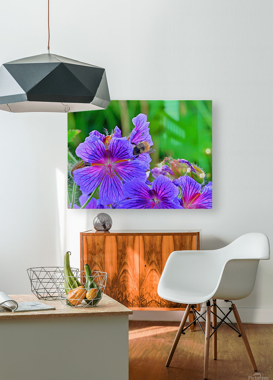 bee   HD Metal print with Floating Frame on Back