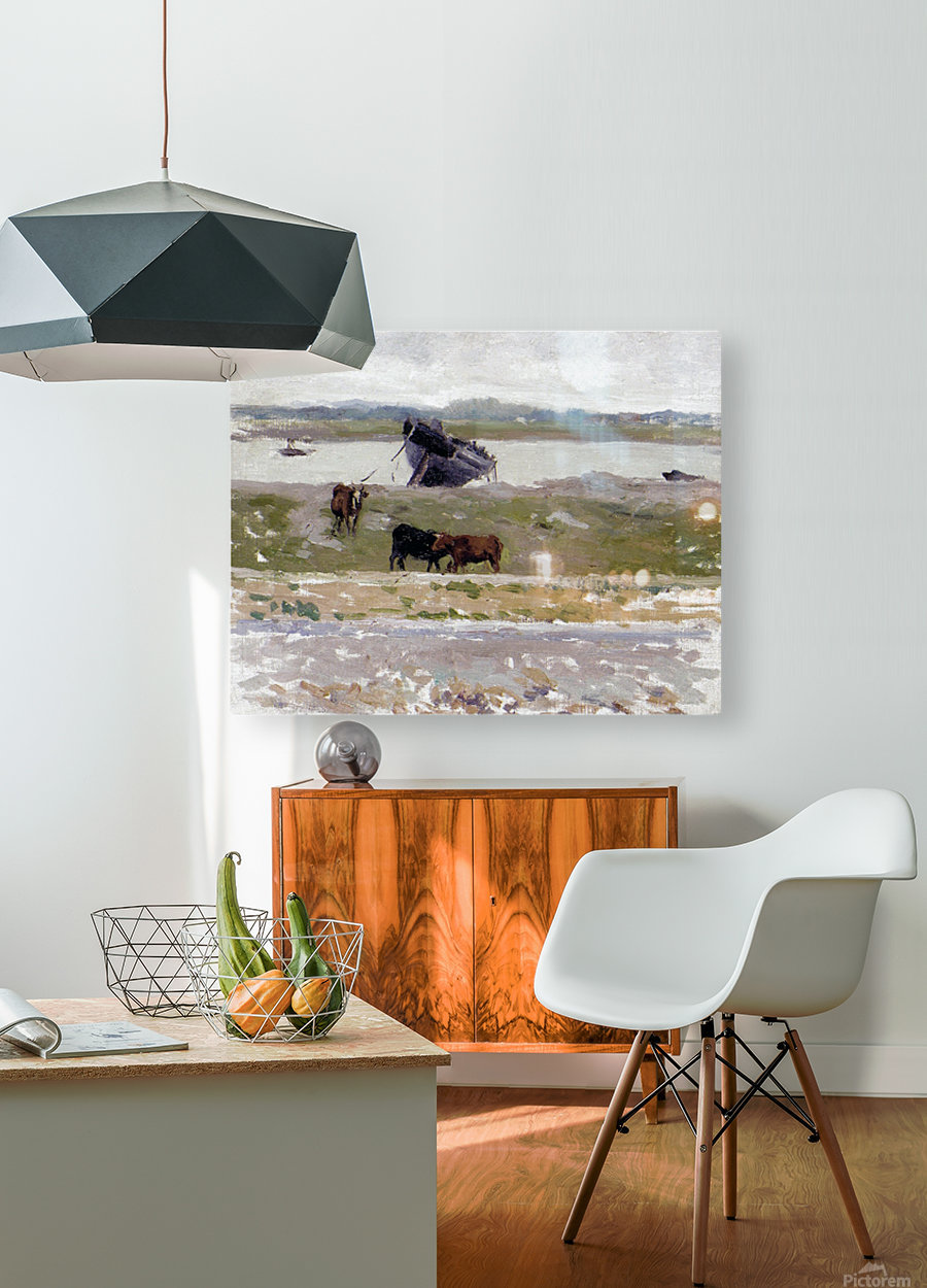 The Cows near an Old Boat, Etaples  HD Metal print with Floating Frame on Back