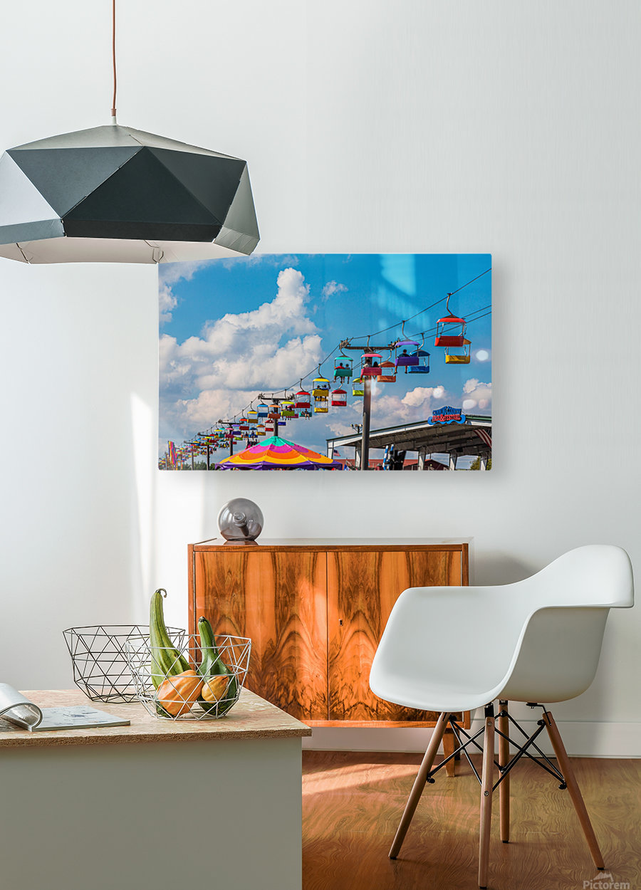 Skylift Over Cumming Fair  HD Metal print with Floating Frame on Back