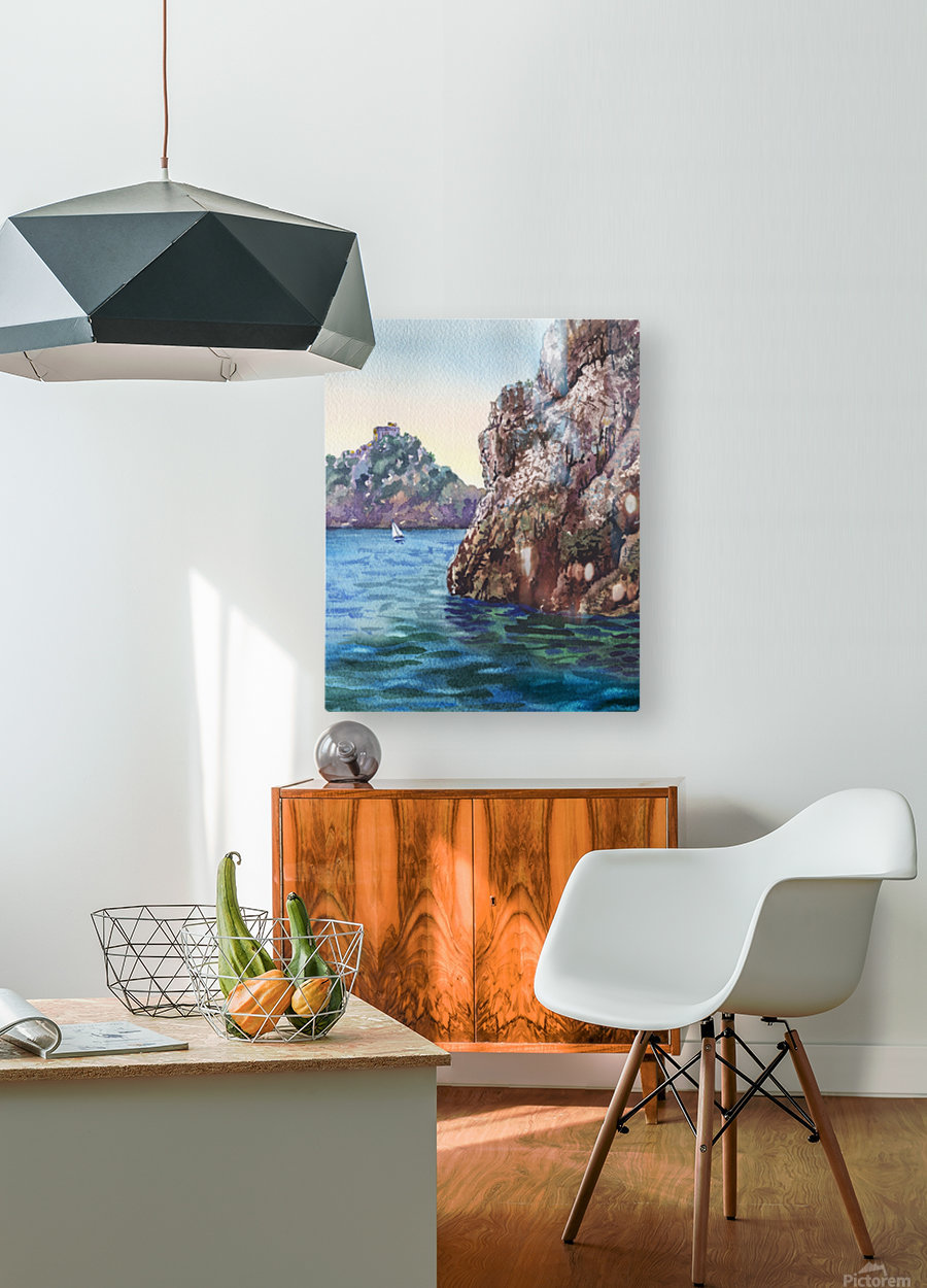 Seascape Harbor Rocky Shore Watercolor Painting  HD Metal print with Floating Frame on Back