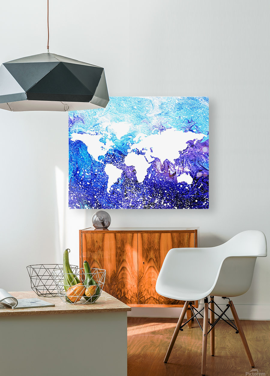 Watercolor Silhouette World Map Global Cooling   HD Metal print with Floating Frame on Back