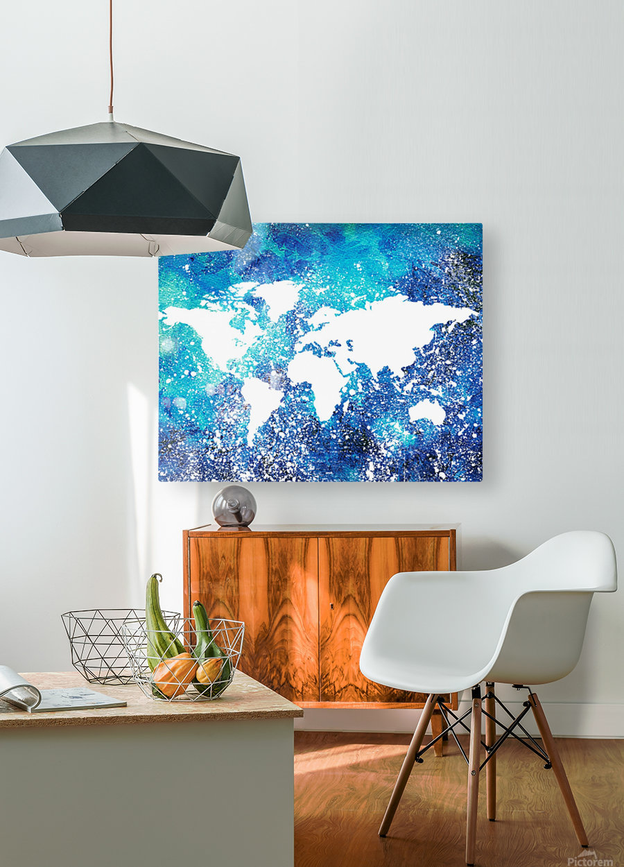 White And Teal Watercolor Silhouette World Map   HD Metal print with Floating Frame on Back