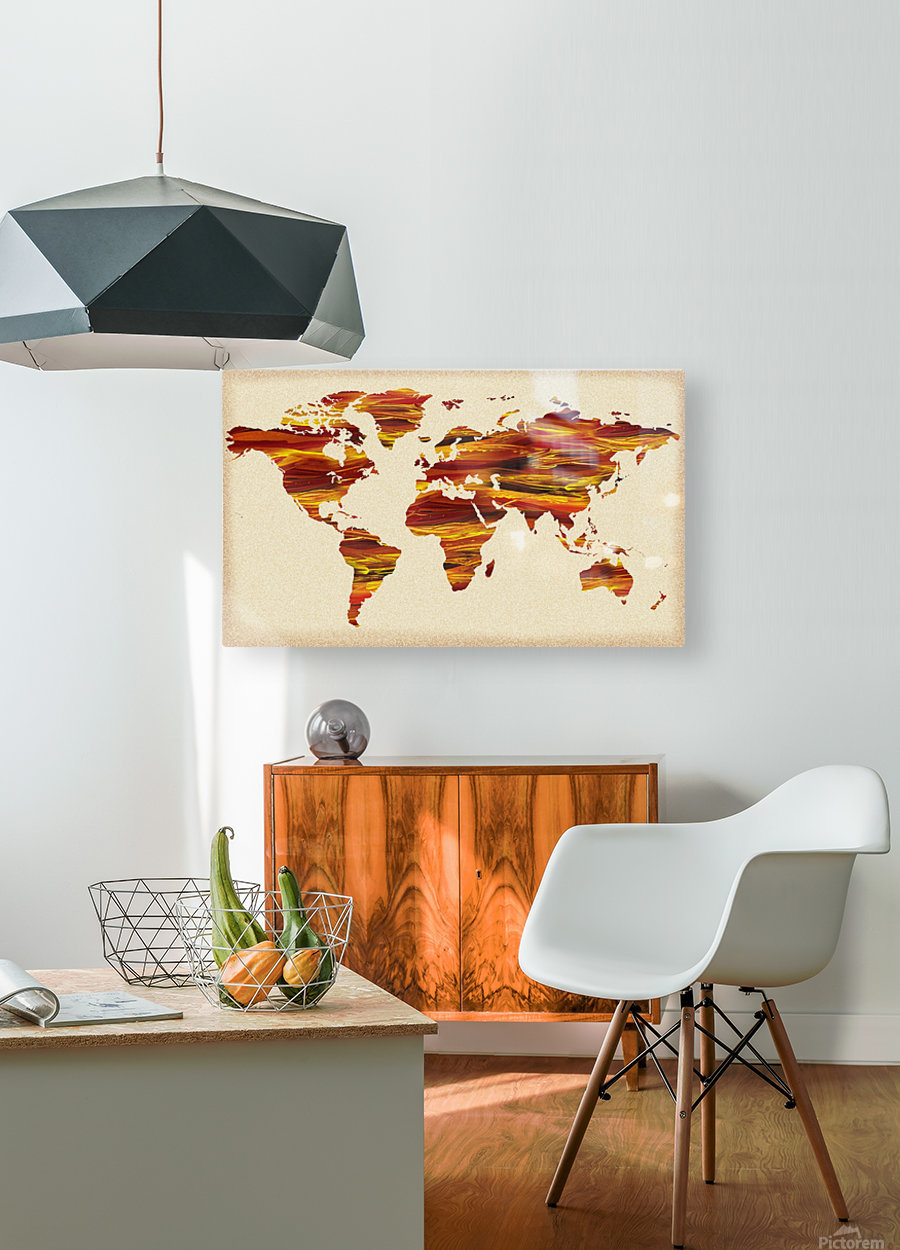 Watercolor Silhouette World Map Terra Lines  HD Metal print with Floating Frame on Back