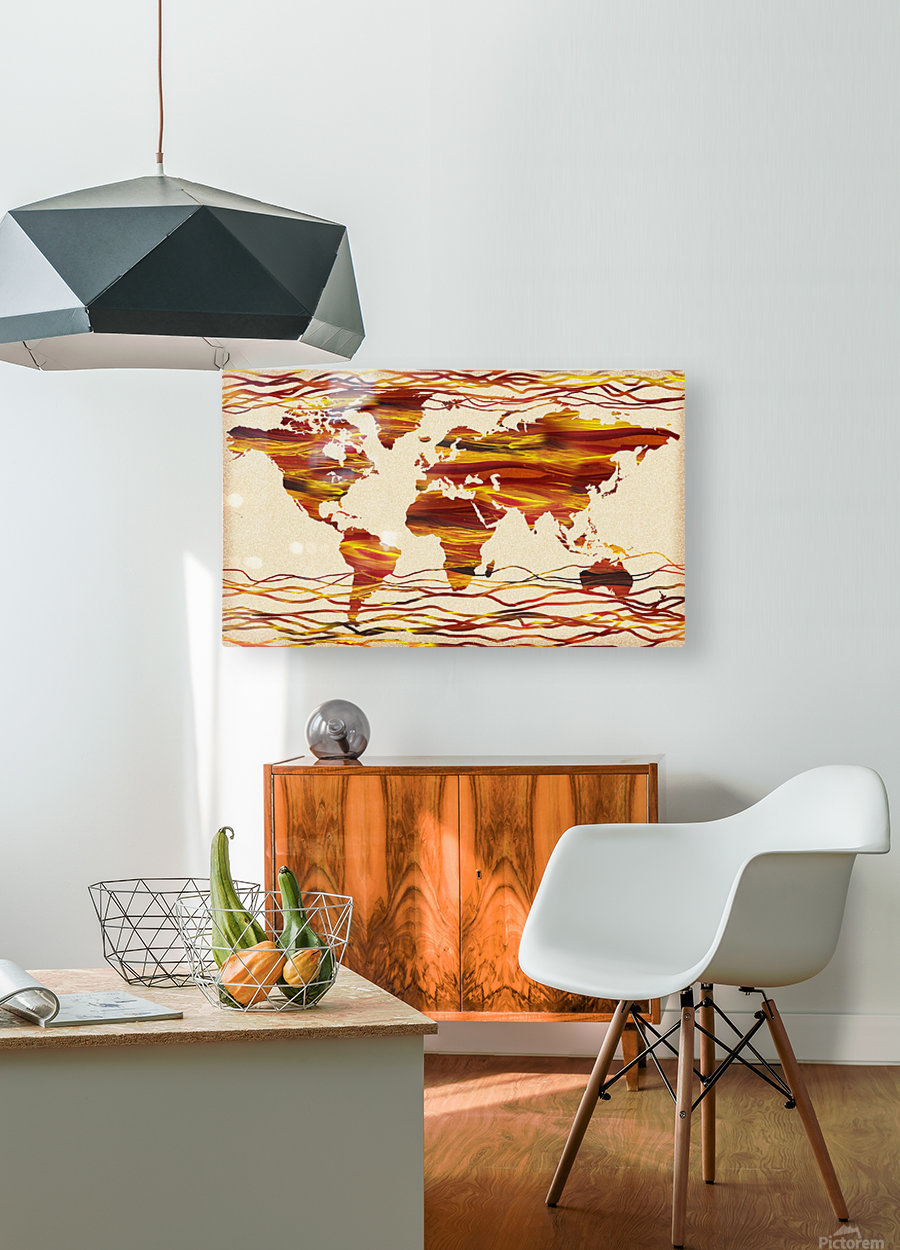 Watercolor Silhouette World Map Brown Beige Waves   HD Metal print with Floating Frame on Back