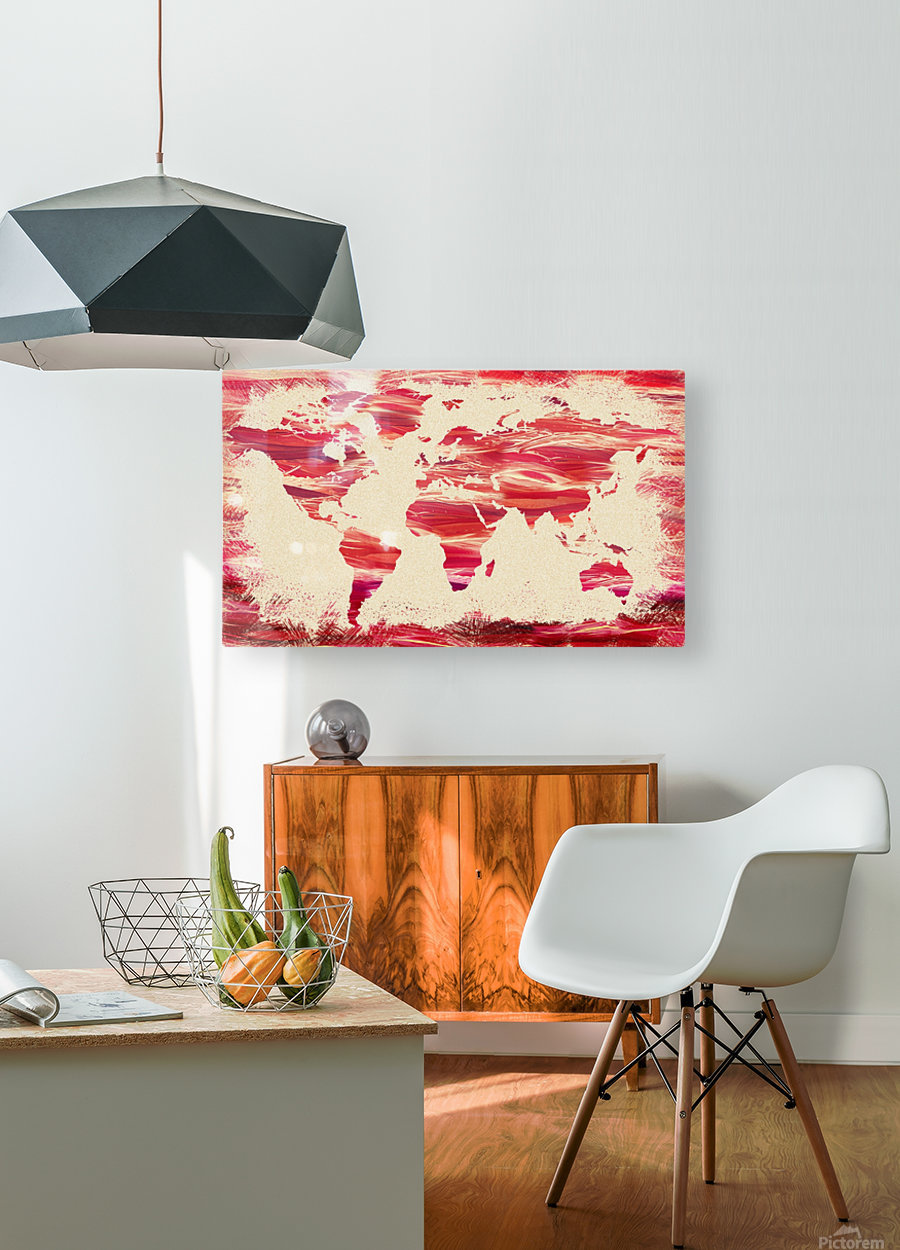 Watercolor Silhouette World Map Pink Terra  HD Metal print with Floating Frame on Back