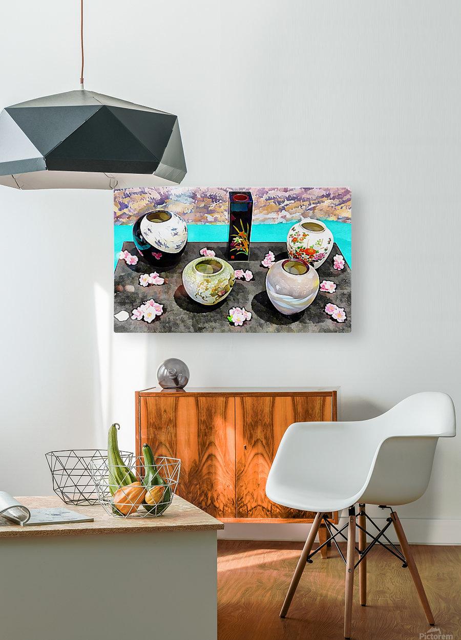 Japanese Vase Display  HD Metal print with Floating Frame on Back