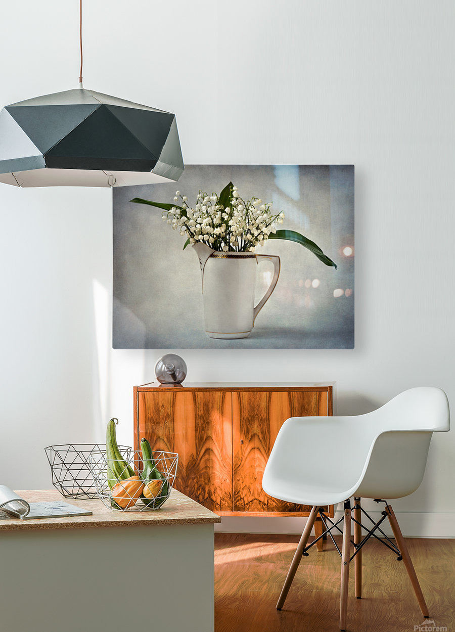 White  HD Metal print with Floating Frame on Back