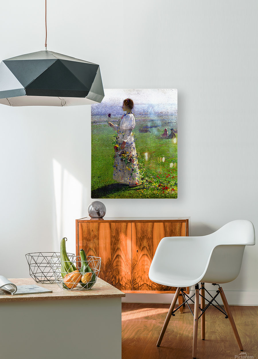 Young Woman Walking by the Field  HD Metal print with Floating Frame on Back