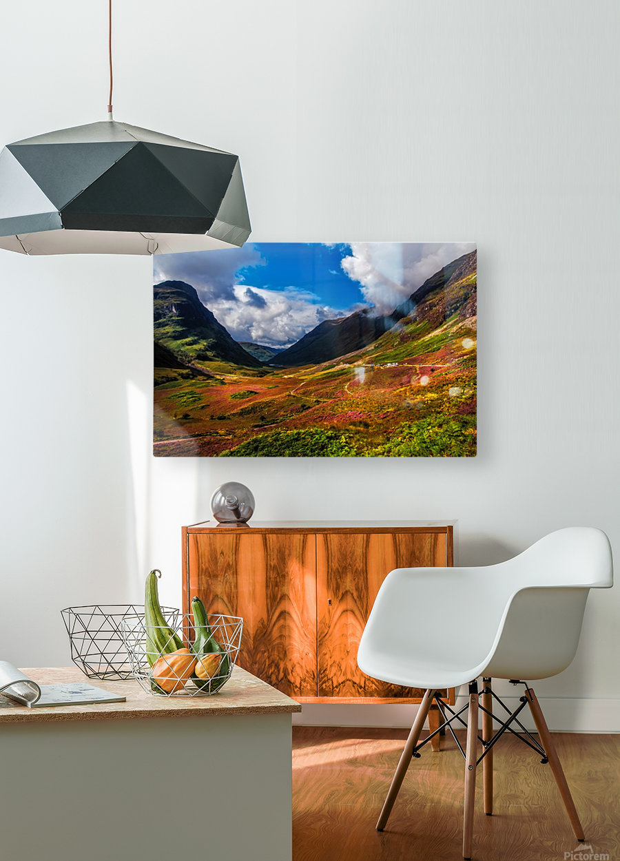 The Valley of Three Sisters. Glencoe. Scotland  HD Metal print with Floating Frame on Back