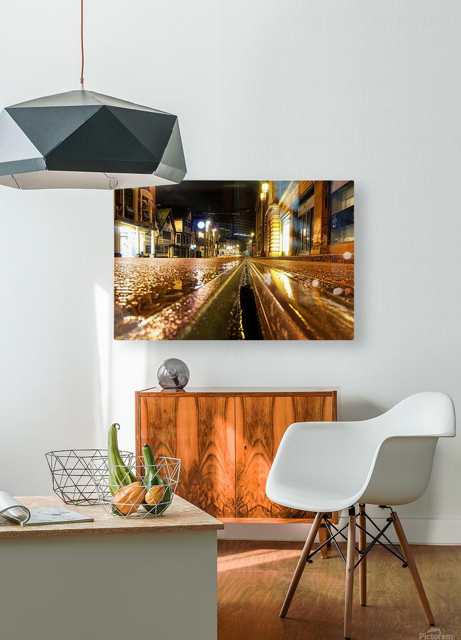 Wet tram rail  Impression métal HD avec cadre flottant sur le dos